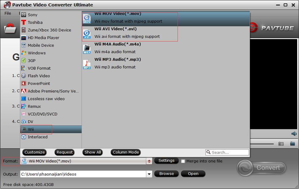 Wii Video Converter: Convert MKV, AVI, MP4, WMV, MOV to Play